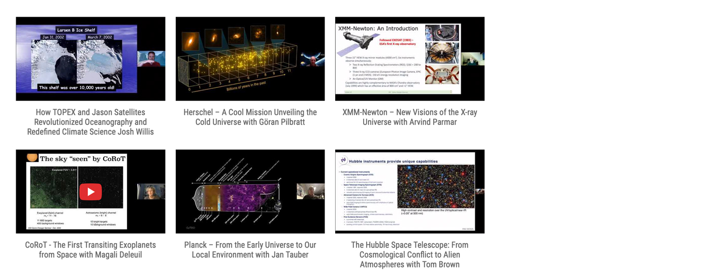 Find here the Gallery with All Recorded Game Changers Videos : How Missions Change(d) our View of the Solar System, the Universe, and the Earth